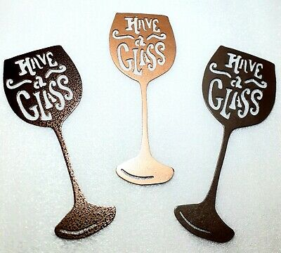 Wine Glass Home Bar  Restaurant Decor Metal Wall Art Unique Display $19 Each