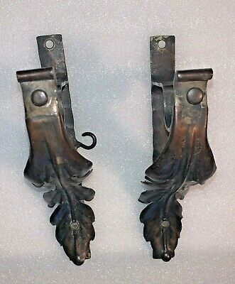 TWO Antique Patinated Iron Shelf Wall Brackets with Leaf Design
