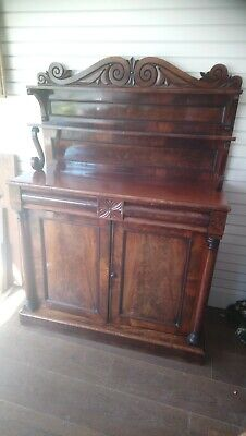 Antique Victorian Chiffonier With Drawer, Cupboard Section, Decorative Top