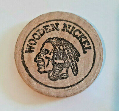 Security Pacific Bank Indian Head Wooden Nickel Token - Vintage and Rare