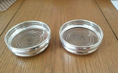 Pair Of Vintage Solid Silver 925S Wine Coaster London 1971