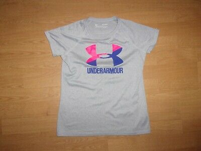 Under Armour Heatgear Loose, Silver Grey girls T-shirt size M girls/10-11 years