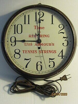 """Vintage Hammond """"TIME TO RESTRING WITH ARMOUR'S TENNIS STRINGS"""" Clock"""