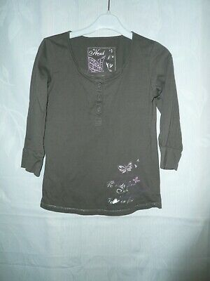 Next Girls Khaki Green Butterfly Top T-shirt 100% Cotton 9 yrs