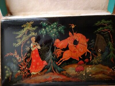 Russian Antique Lacquer Box Fairy Tale Young Girl