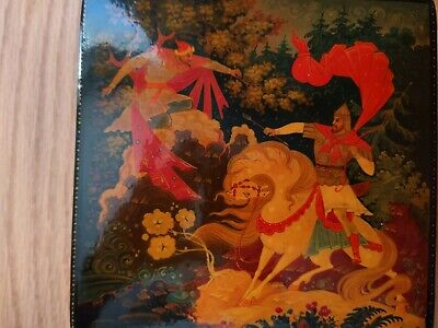 Russian Antique Lacquer Box Fairy Tale Bogatyr