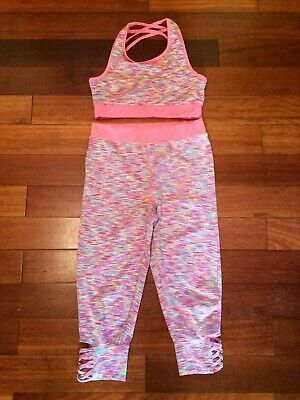 Girl's Miss E-vie Active striped Set. Bra(Top) and Leggings Age 10-11 Years