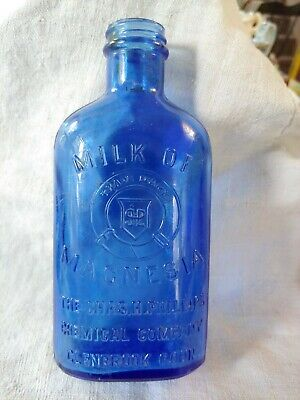 Antique Cobalt Blue Glass Philllips Milk Of Magnesia Medicine Bottle