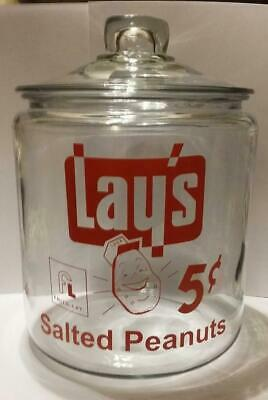A RARE Lay's Salted Peanuts Glass Counter Jar