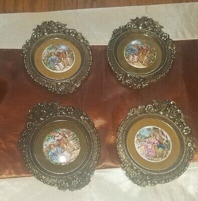 LOVELY set of 4 Vintage VICTORIAN Porcelain CAMEO Medallion ORNATE Wall Plaques!