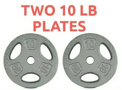 PAIR of CAP 10 lb Cast Iron Barbell Standard Weightlifting Plates, 20lbs TOTAL!