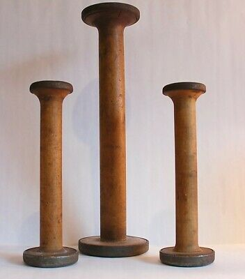 Wooden Spools Vintage Lot of 3 Antique Sewing Decor EUC Industrial Textile Wood