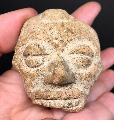 Pre-Columbian Human Head Terracotta Ritual Pottery Fragment Ancient Artifact