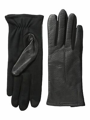 Fownes Womens Genuine Leather Texting Fleece Lined Driving Gloves - Black S/M
