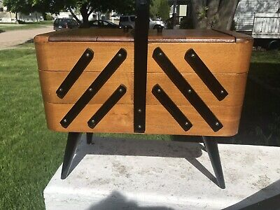 Vintage Mid Century Modern Wood Accordion Style Sewing Box Made Poland Rounded