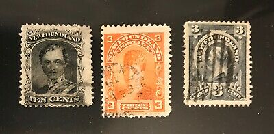 NEWFOUNDLAND postage stamps Prince Albert Queen Victoria lot of 3 old