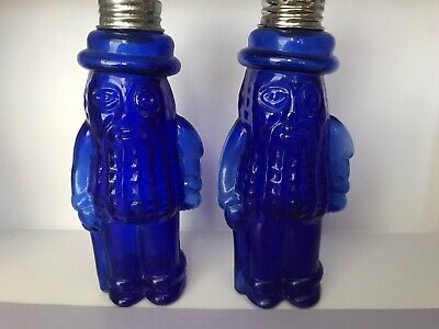 Vintage Planters Mr Peanuts Cobalt Blue Glass Salt & Pepper Shakers Gently Used