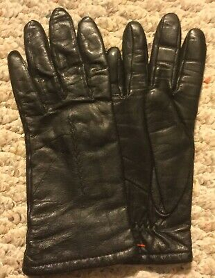Vintage FOWNES Genuine Leather Womens Ladies Black Lined Driving Gloves Sz 6 1/2
