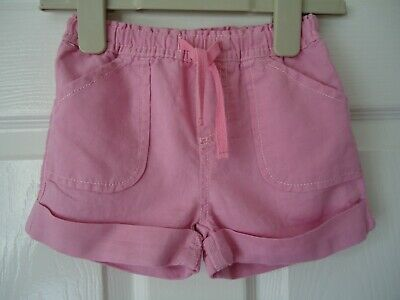 Girls GAP Linen Shorts in Pink with Elasticated Waist, Pockets Age 2  24mths VGC