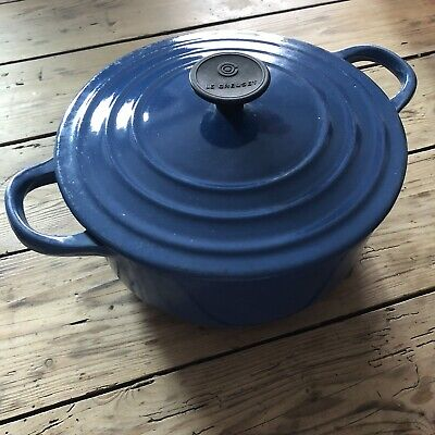 Le Creuset Cast Iron Casserole Dish Vintage Old Well Used Blue 8""