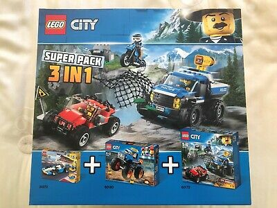 Lego City Super Pack 3 in 1 Includes 60180 60172 31072