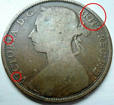 ** 1888 Penny missing upper serifs on the Is in VICTORIA. Filled die flaw. **