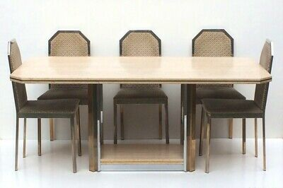 DINING SET Brass & Travertine 1970s Willy RIZZO style