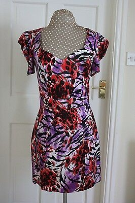 Next size 12 Purple Red Black short sleeve stretchy fitted dress hardly worn