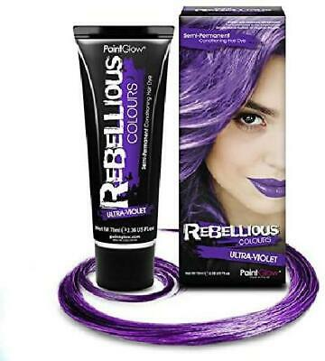 Rebellious Colours 100% Vegan Semi Permanent Hair Dye Colour 70ml (Ultra-Violet)
