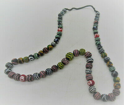 Scarce Ancient Phoenician Necklace Restrung Mosaic Sandcore Formed Beads