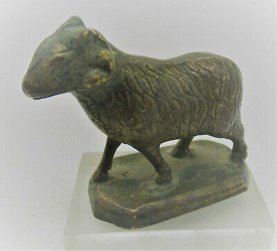 Beautiful Post Medieval Antique Gold Gilded Bronze Ram Statuette