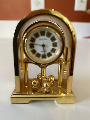 Bulova Solid Brass Miniature Mantel Clock