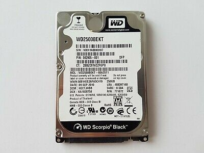 "Western Digital 250GB 2.5"" SATA Hard Drive WD2500BEKT Scorpio Black"