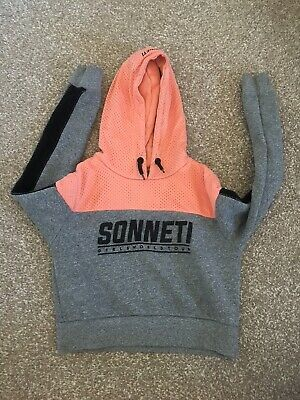 Girls Sonneti cropped hoodie peach and grey age 12-13 years