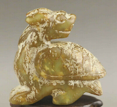 Chinese old natural jade hand-carved statue dragon tortoise pendant 2.5 inch