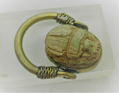 Ancient Egyptian Scarab Bead In A Gold Gilt Swivel Ring