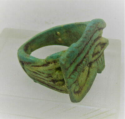 Ancient Egyptian Faience Eye Of Horus Ring Circa 664 - 332 Bce Superb