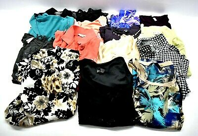 Lot Of 15 Womens Size Large Tops Long & Short Sleeve Plain & Printed Blouses