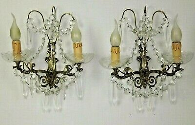 Beautiful Pair Double Antique French Bronze Crystal & Glass Wall Sconces 1898