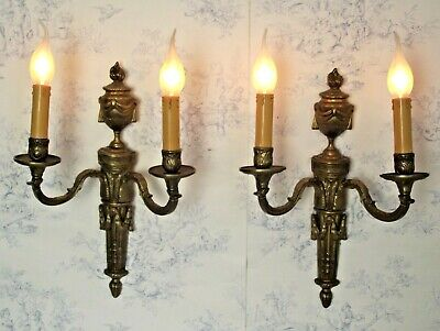 Impressive Pair French Antique Bronze Neo Classical Style Double Sconces 1550