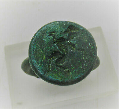 Detector Finds Unresearched Ancient Bronze Ring With Figure On Bezel