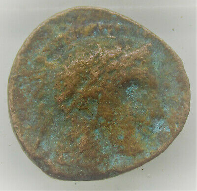 Unresearched Ancient Greek Bronze Coin With Head Of Athena And Owl