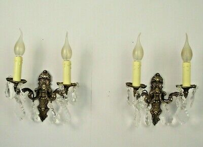 Lovely Pair French Antique Bronzed Wall Sconces Adorned With Clear Crystals 1705