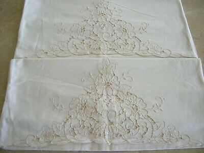 Vintage Hand Embroidered pair of pillow cases with open work