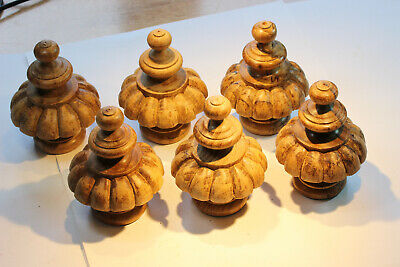 6 x Vintage Hand Turned and Hand Carved Hardwood Finials