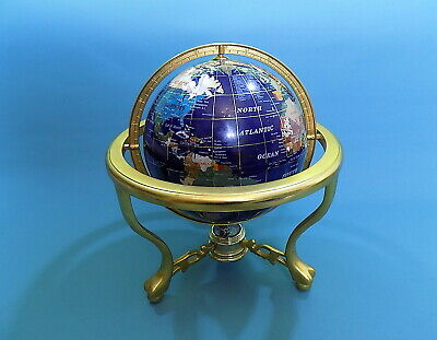 Vintage MOTHER OF PEARL GEMSTONE World Globe on Stand with Working Compass
