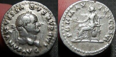 MORTOWN Vespasian Denarius 75 AD PAX seated left holding Olive Branch Beautiful!