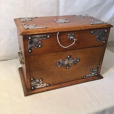 Handsome Antique Internal Turntable Smokers Cabinet With Key