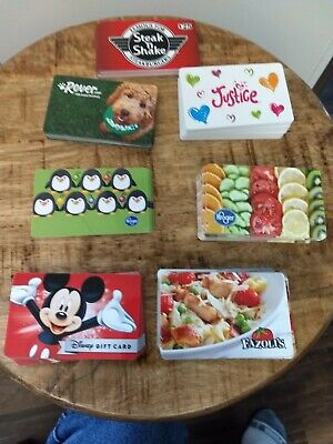 LOT OF 100 + NO VALUE gift cards 7 different types.