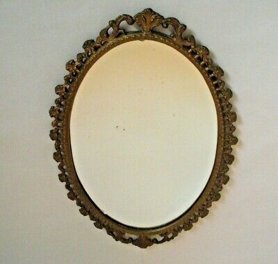 Very Old French Bronzed Effect Cast Metal Decorative Oval Hanging Mirror 1718